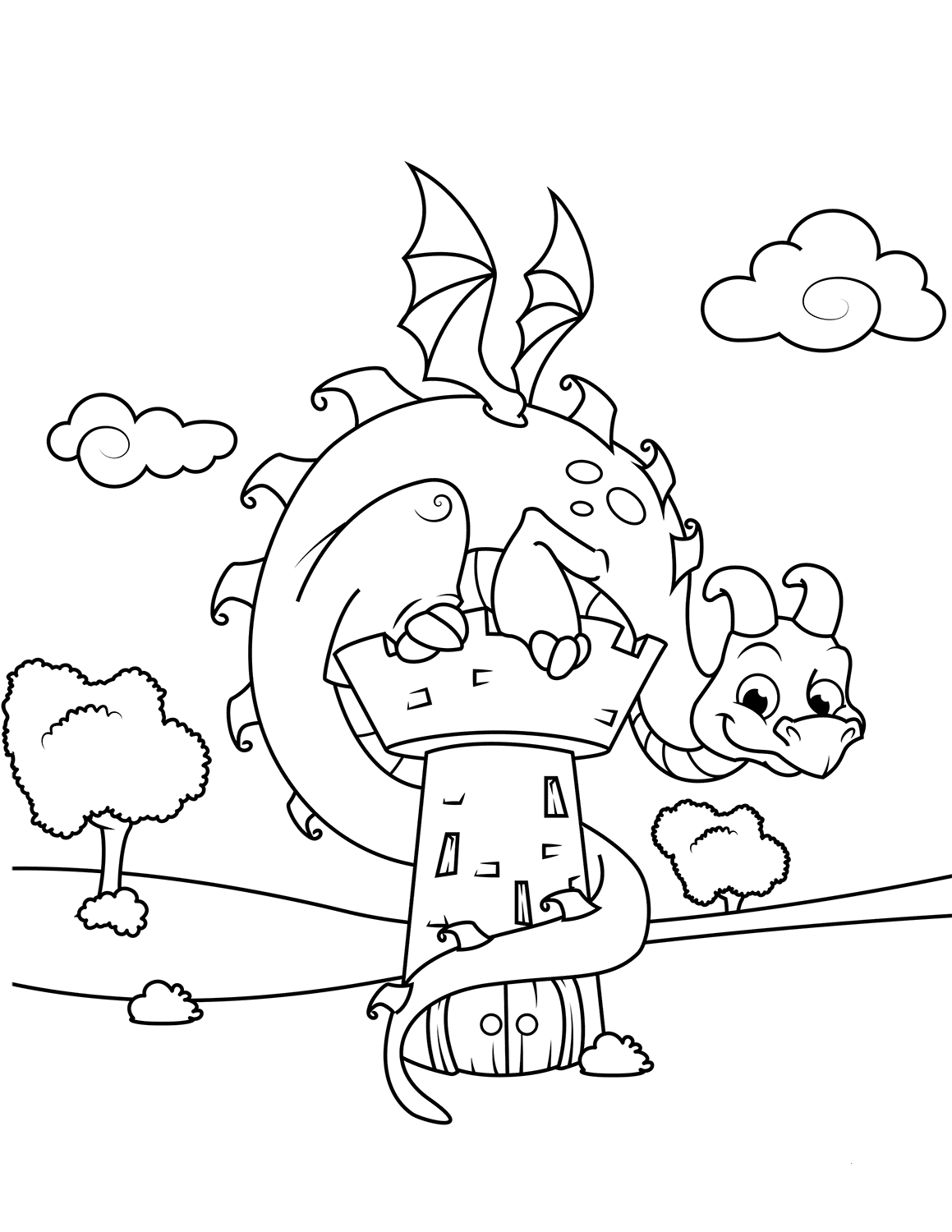 Dragon And Tower Coloring Pages