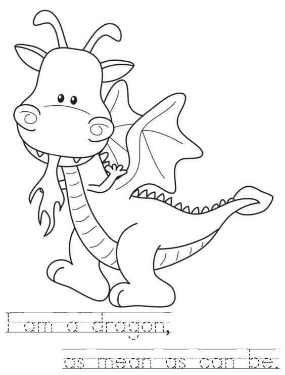 Dragon Coloring Page For Preschoolers