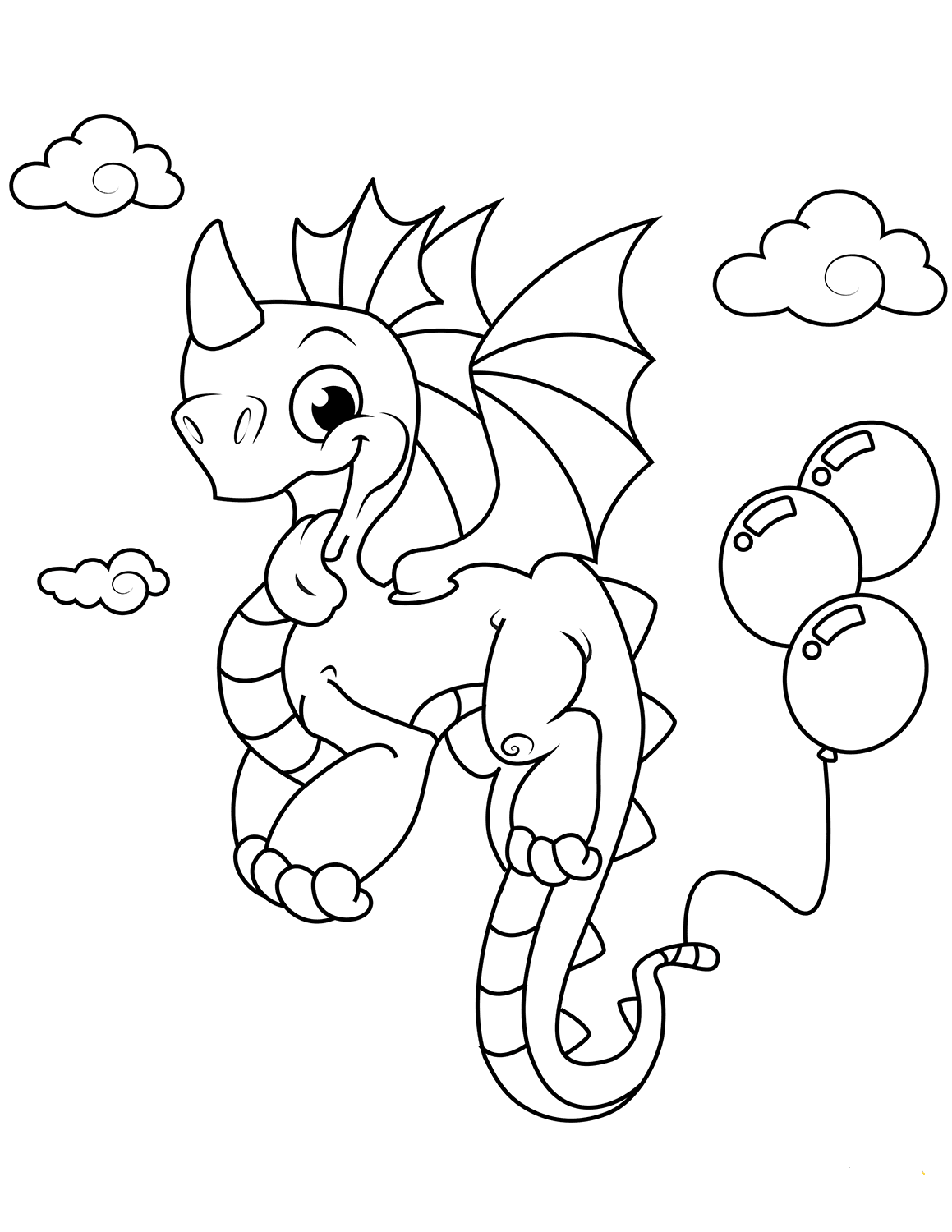 Dragon With Balloons Coloring Page