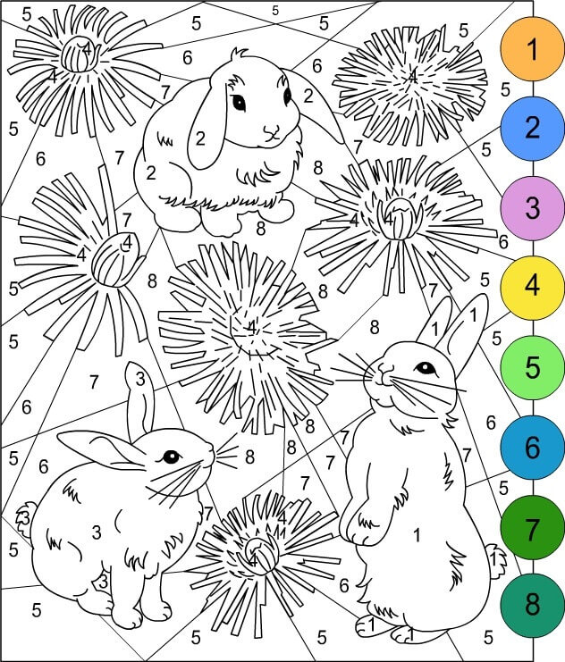Color By Number Easter Coloring Page