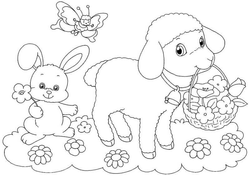 Easter Lamb Coloring Pages For Kids