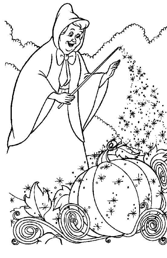 Fairy Godmother From Cinderella Coloring Page