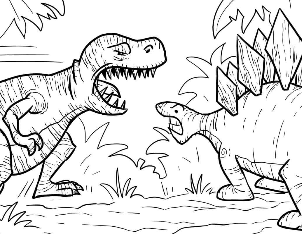 Fighting Dinosaur Coloring Pages