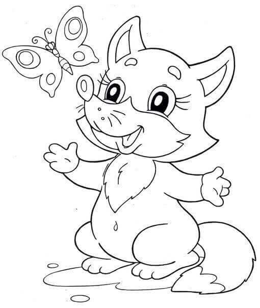 Fox And Butterfly Coloring Page