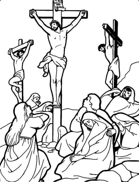 Jesus Crucifixion Coloring Page Free Printable Good Friday Pages