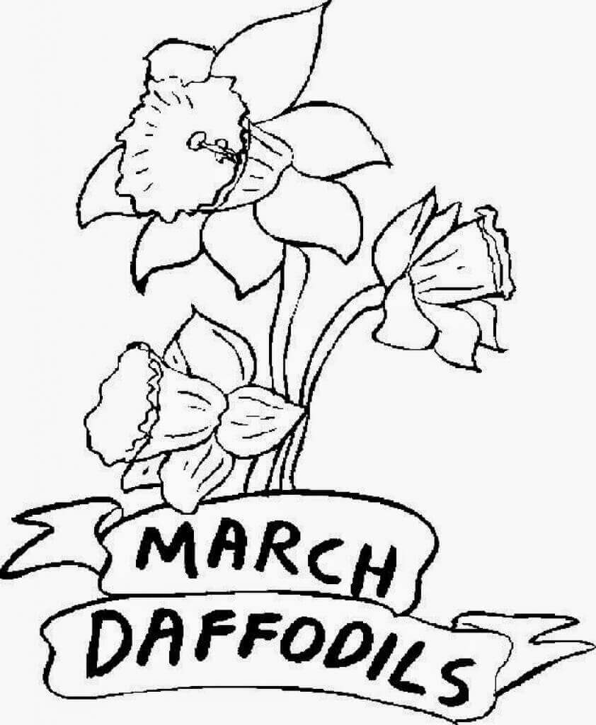 Free Printable March Flower Coloring Pages