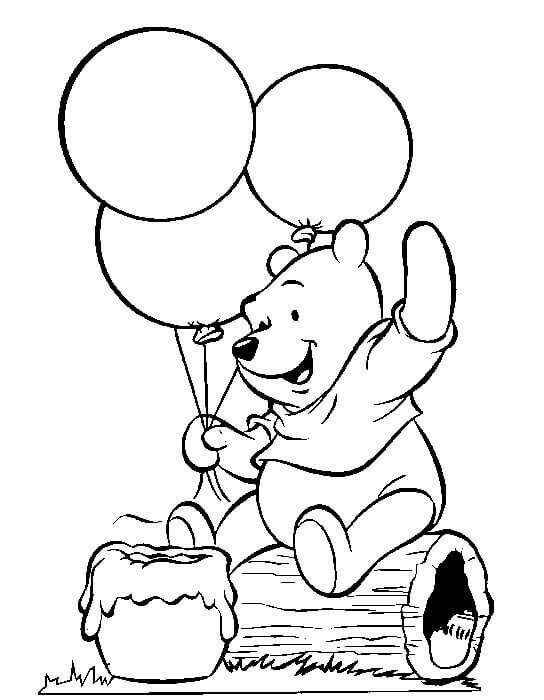 Happy Birthday Winnie The Pooh Coloring Page