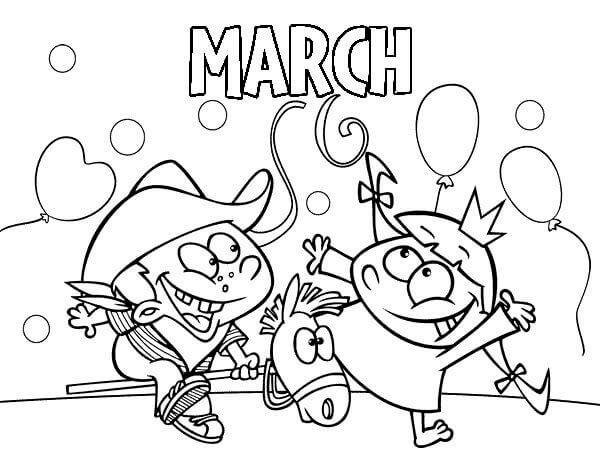 Happy March Coloring Pages Free