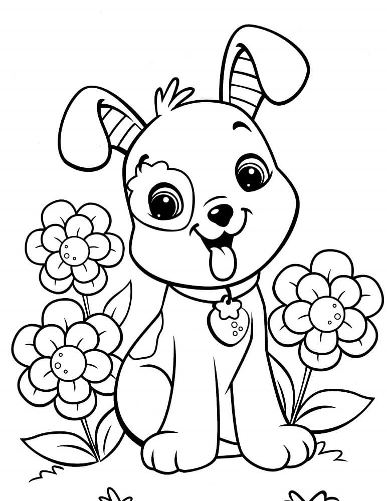 Happy Puppy Coloring Pages