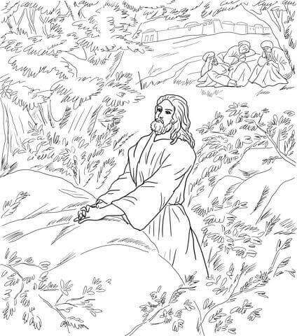 Jezus in Gethsemane Good Friday Coloring Page