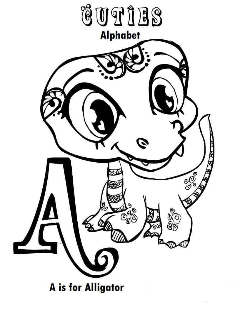 LPS Cuties Coloring Pages Alligator