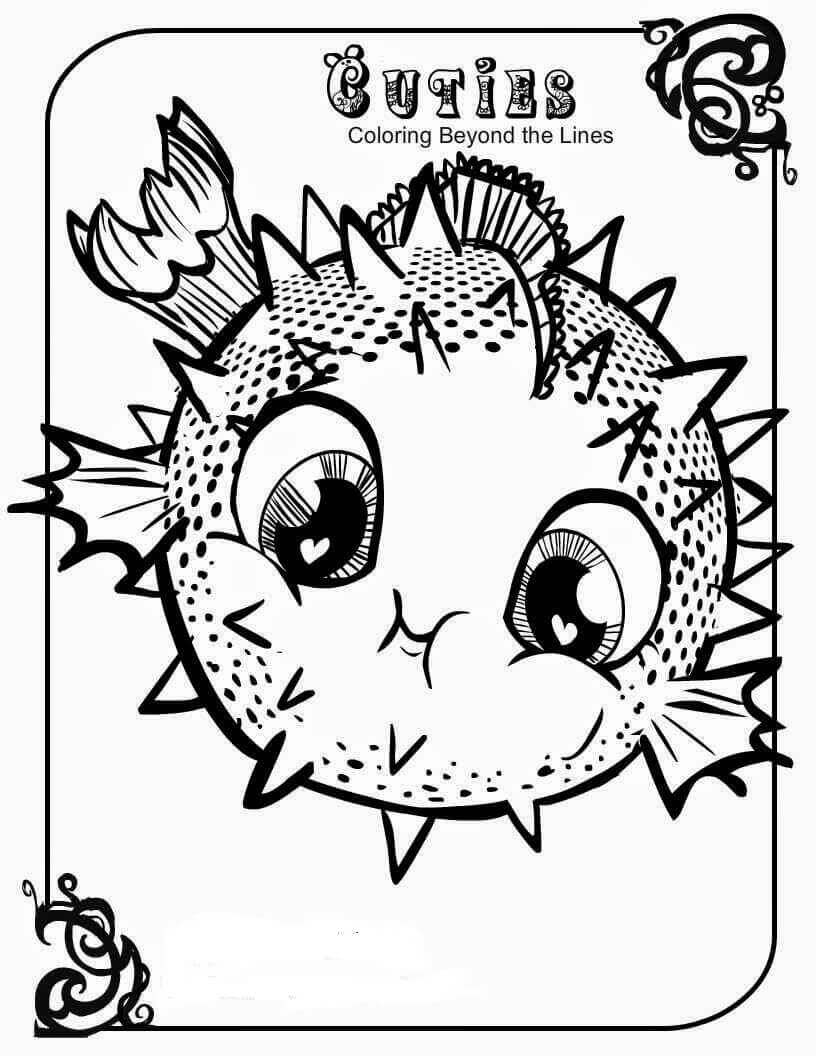 Lps Cuties Coloring Pages Blowfish on sloth coloring pages for adults