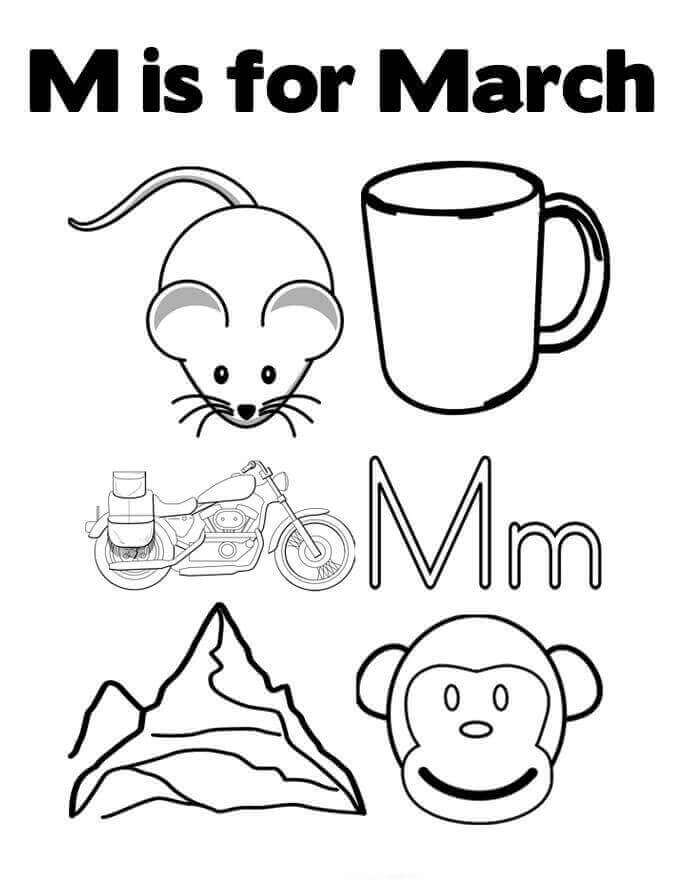 M For March Coloring Page