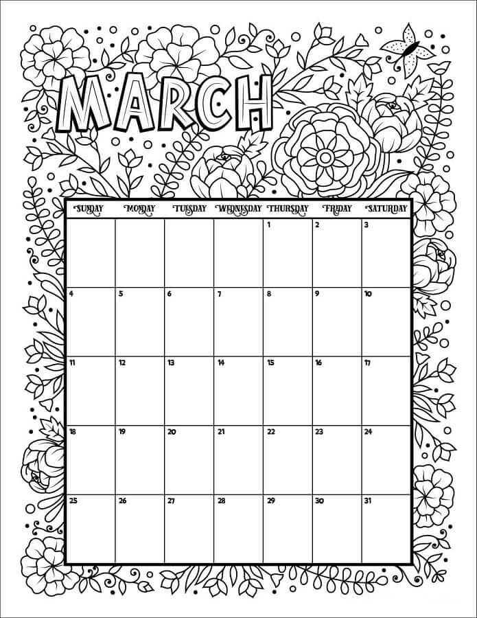 March 2018 Calendar Coloring Pages