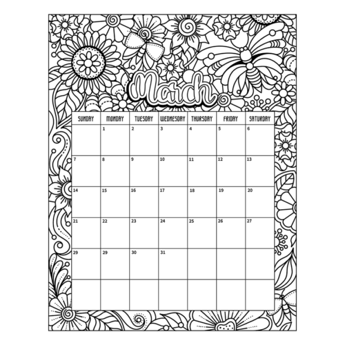 March 2021 coloring page