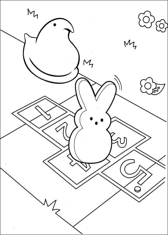 Peeps Chic And Bunny Coloring Pages To Print