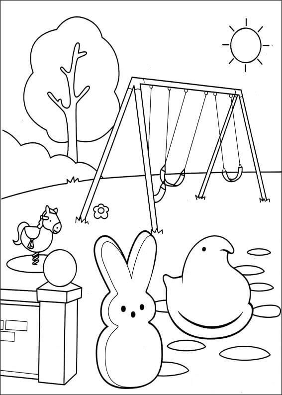 Peeps Chic And Bunny Coloring Pages