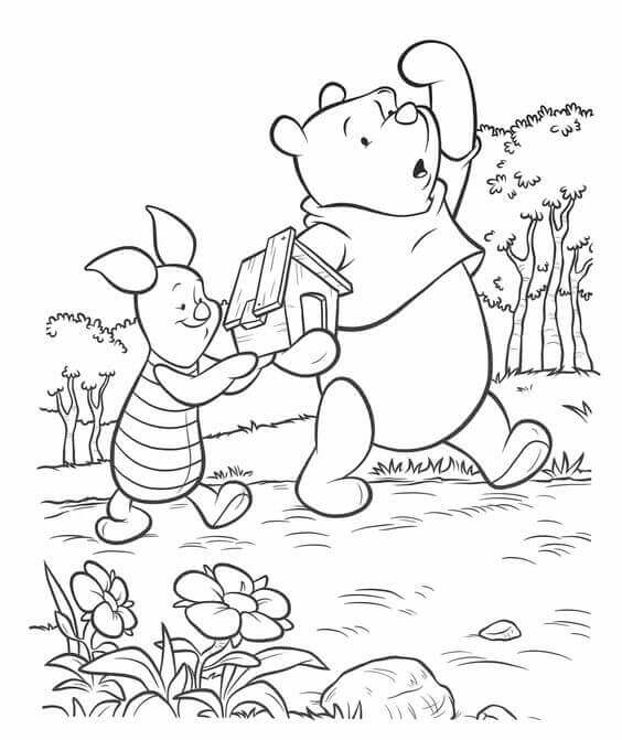 Piglet And Pooh Coloring Sheet