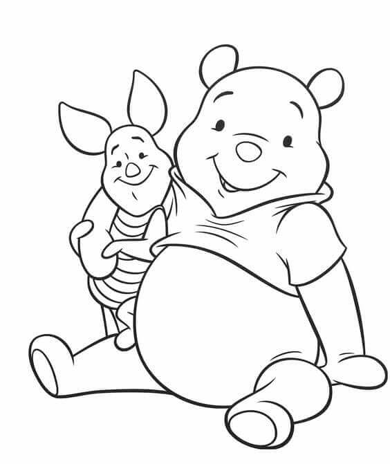 Piglet And Winnie The Pooh Coloring Sheet Free