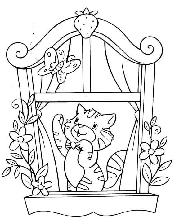 Playing Cat Coloring Pages