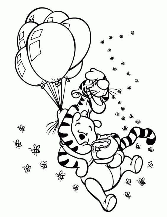 Pooh And Tigger Coloring Page