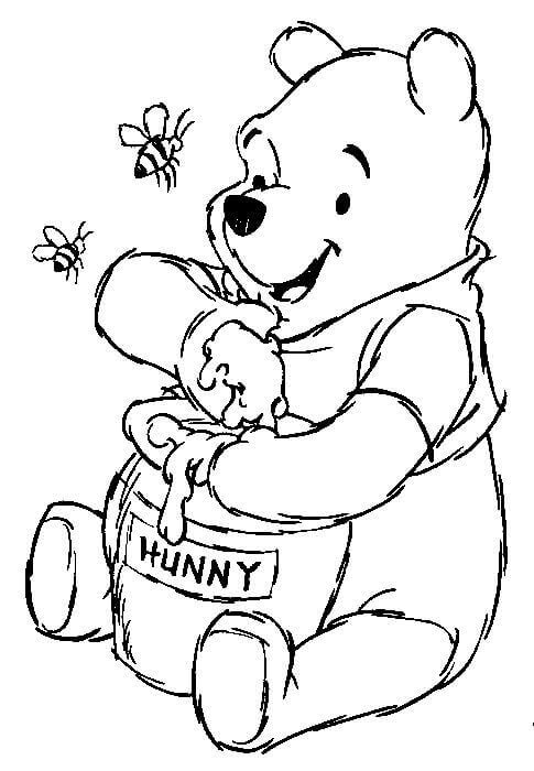 Pooh With Honey Coloring Page