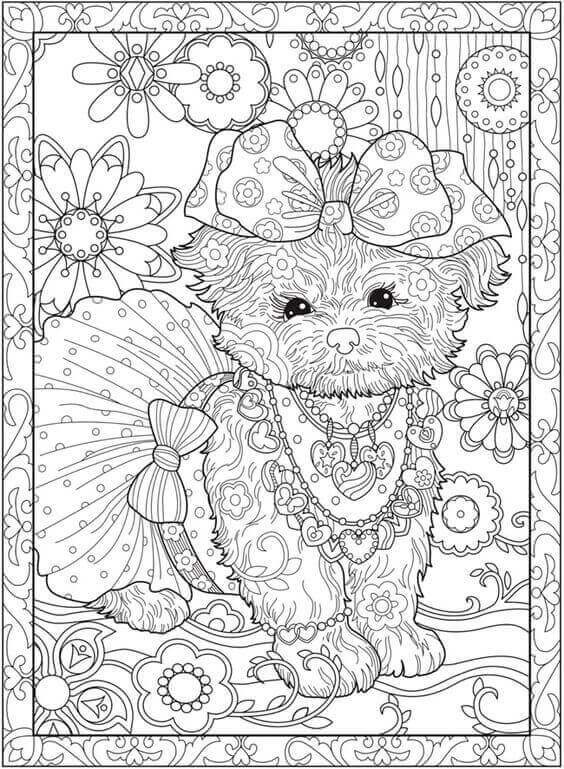 Puppy Coloring Sheet For Adults