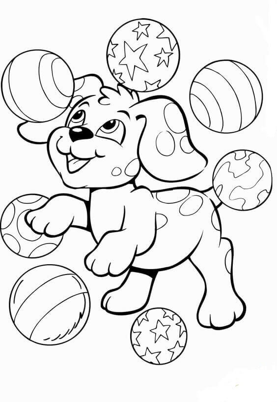 Puppy Playing With Balls Coloring Pages