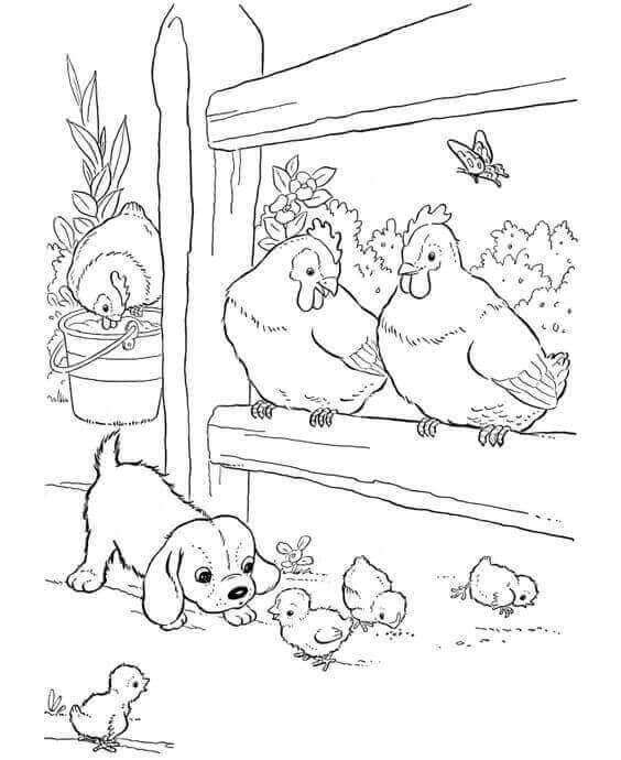 Puppy With Farm Animals Coloring Page