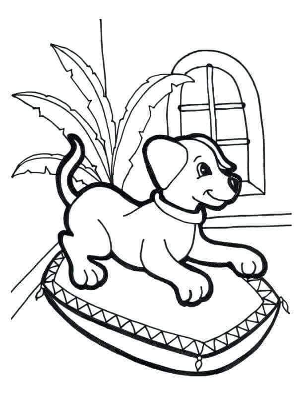 Resting Puppy Coloring Sheets