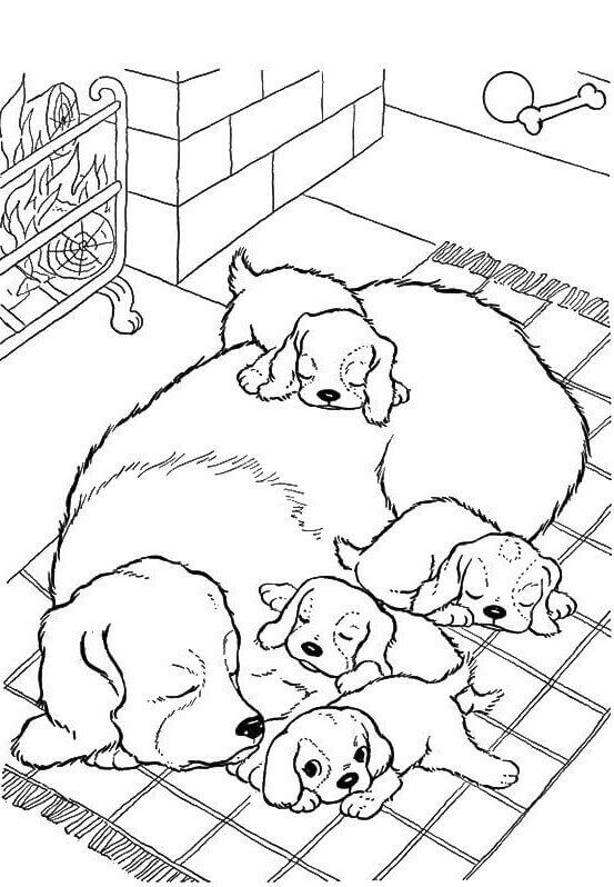 Sleeping Pups Coloring Page