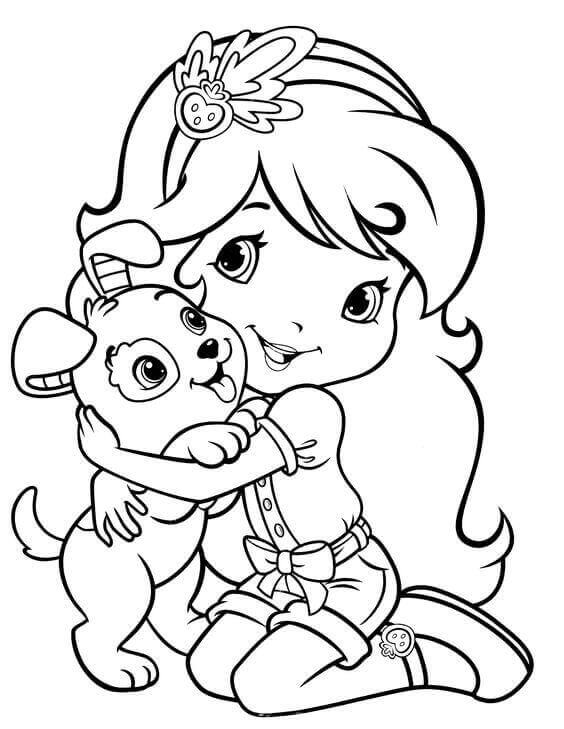 Strawberry Shortcake With Her Puppy Coloring Page