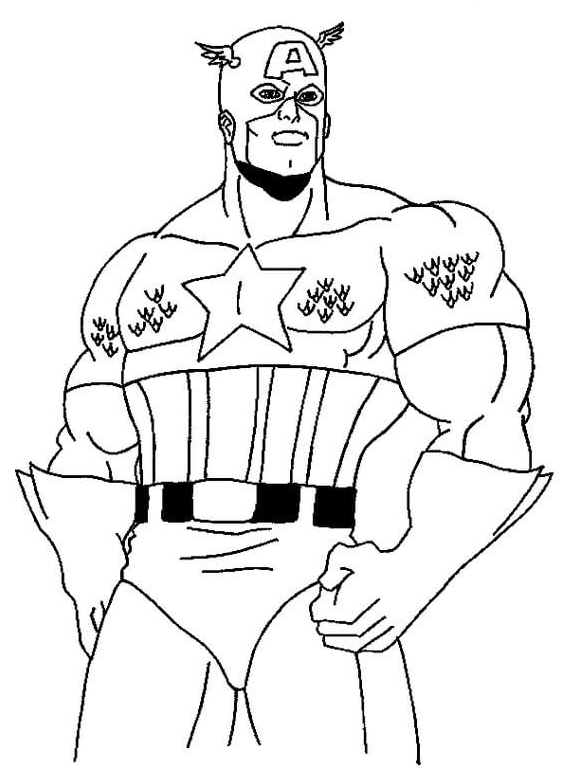 Strong Captain America Coloring Page