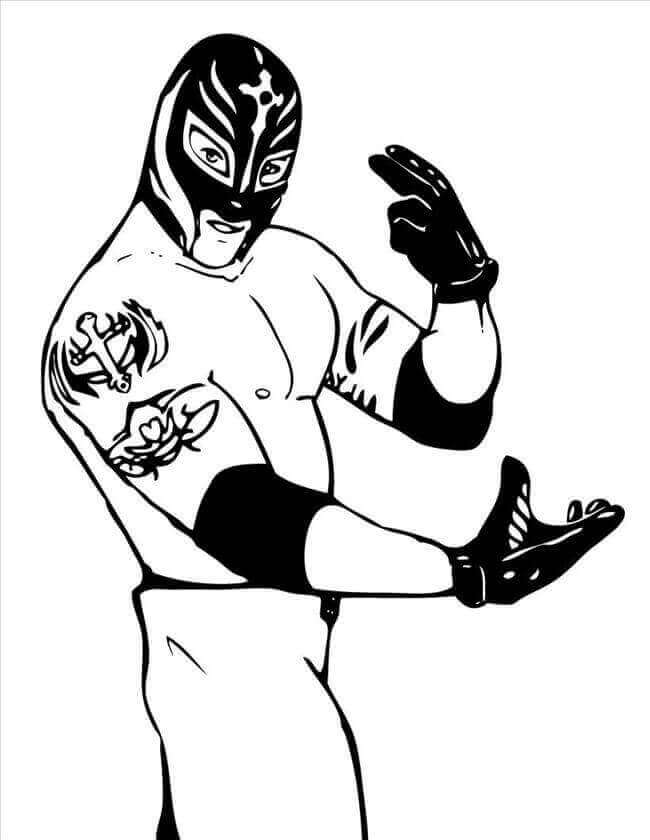 WWE Coloring Pages Rey Mysterio
