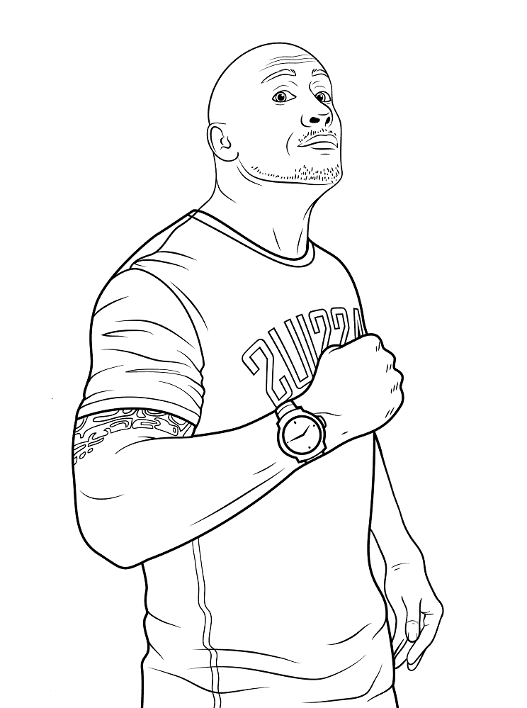 WWE Dwayne Johnson The Rock Coloring Page
