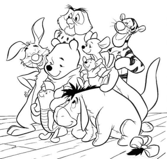 Winnie The Pooh And Friends Coloring Sheets