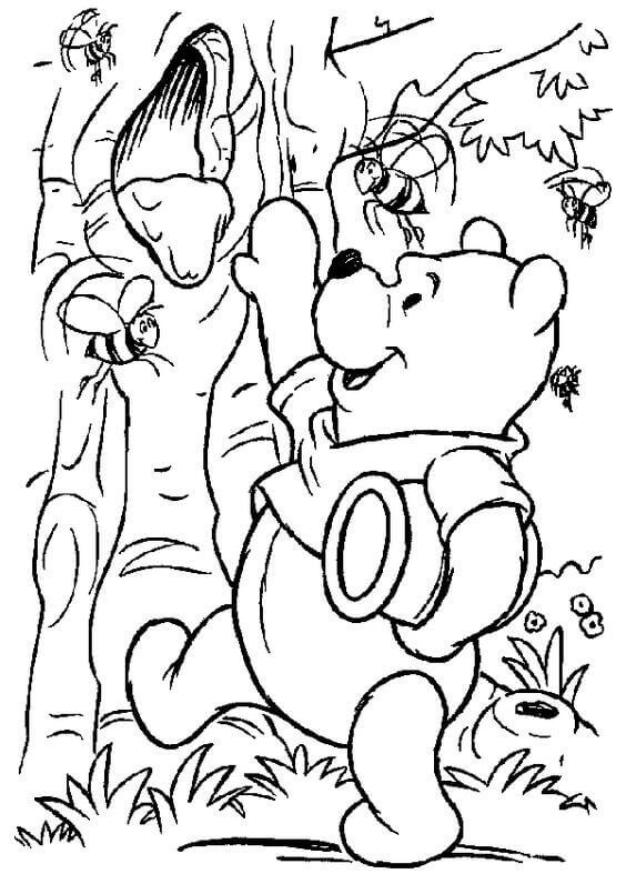 Winnie The Pooh Having Honey Colouring Page