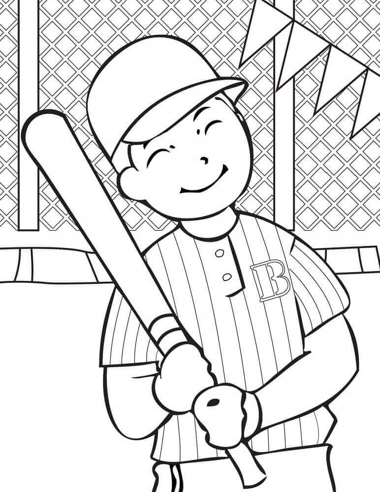 coloring pages baseball player - photo#27