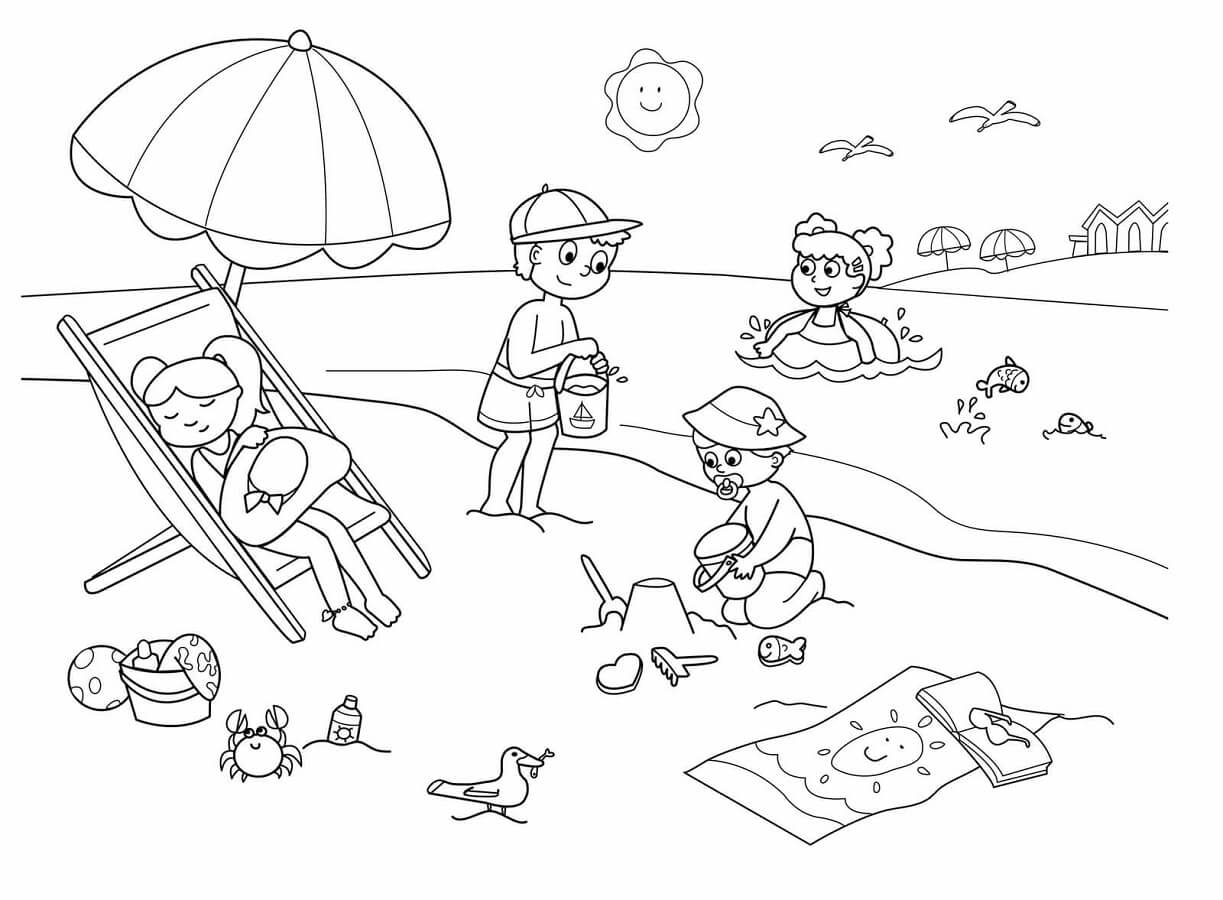 Beach Coloring Page Free