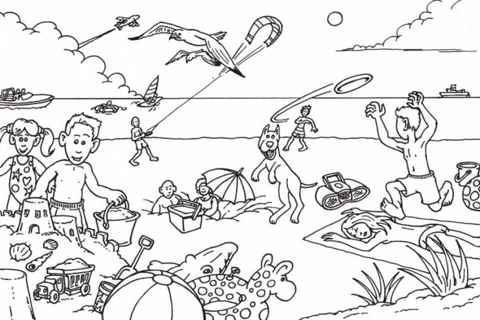 A Crowded Beach Coloring Page