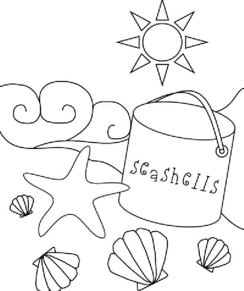 Beach Essentials Coloring Page
