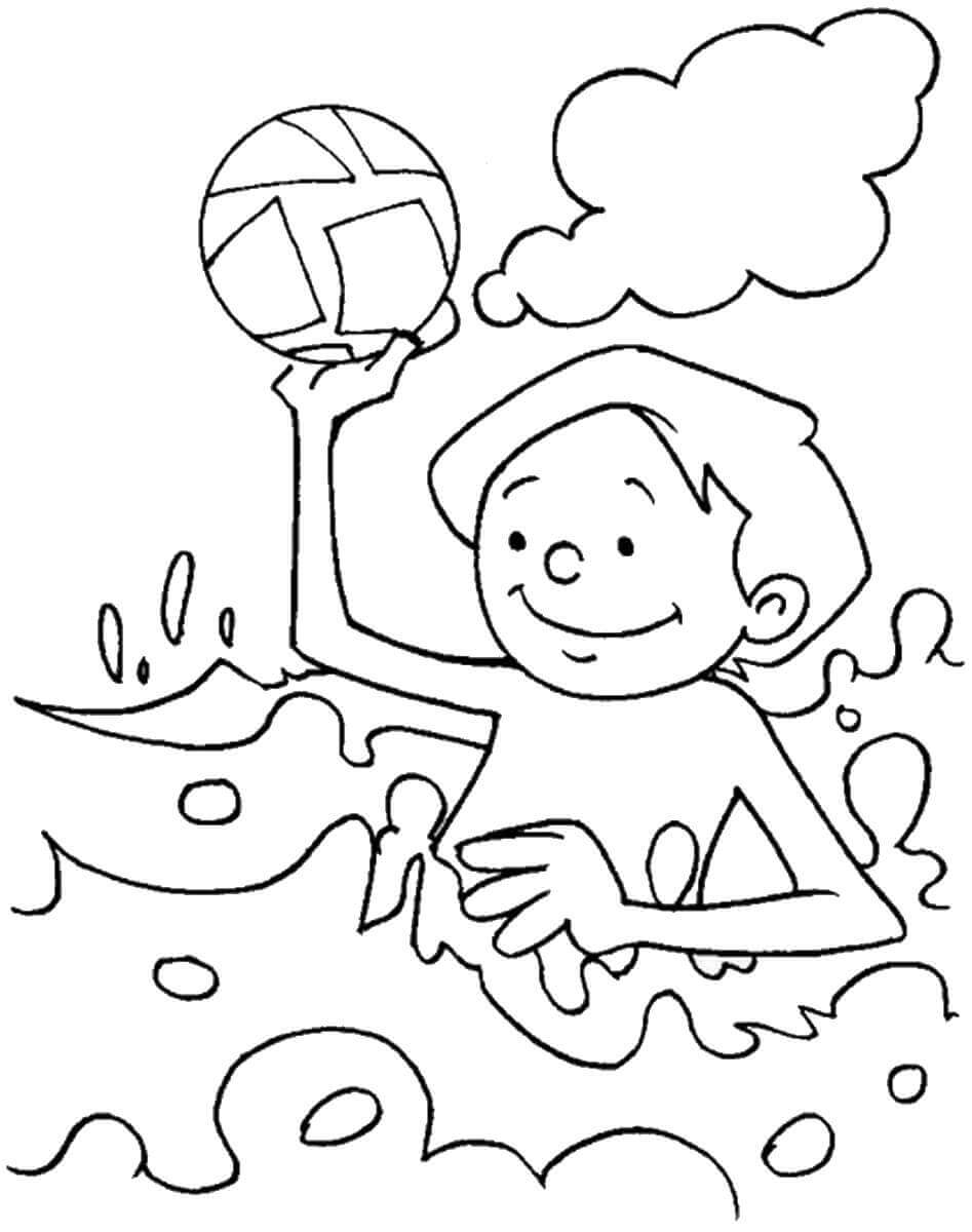 Beach Playing Coloring Pages