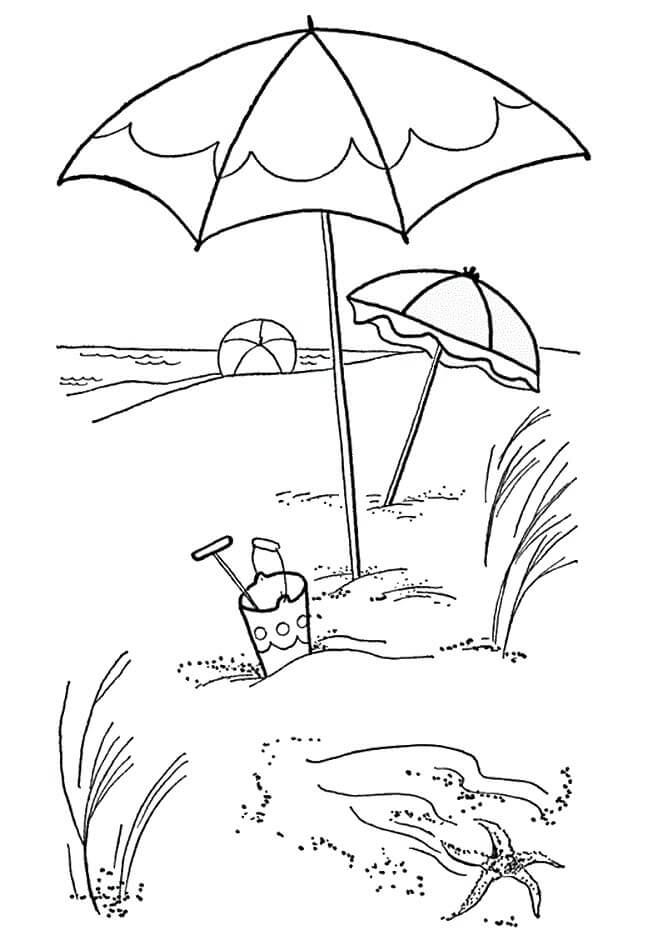 Beach Scene Coloring Sheets