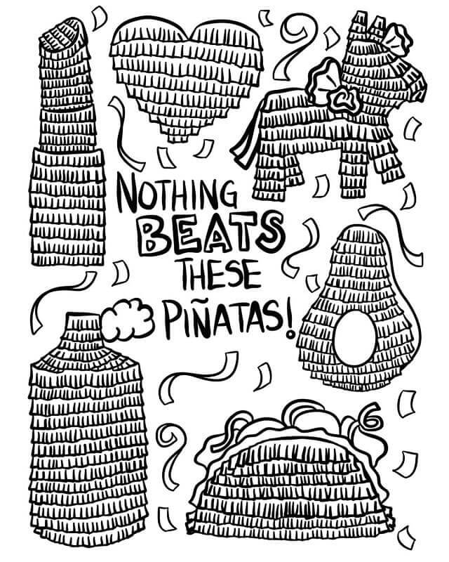 Beat The Pinatas Coloring Page
