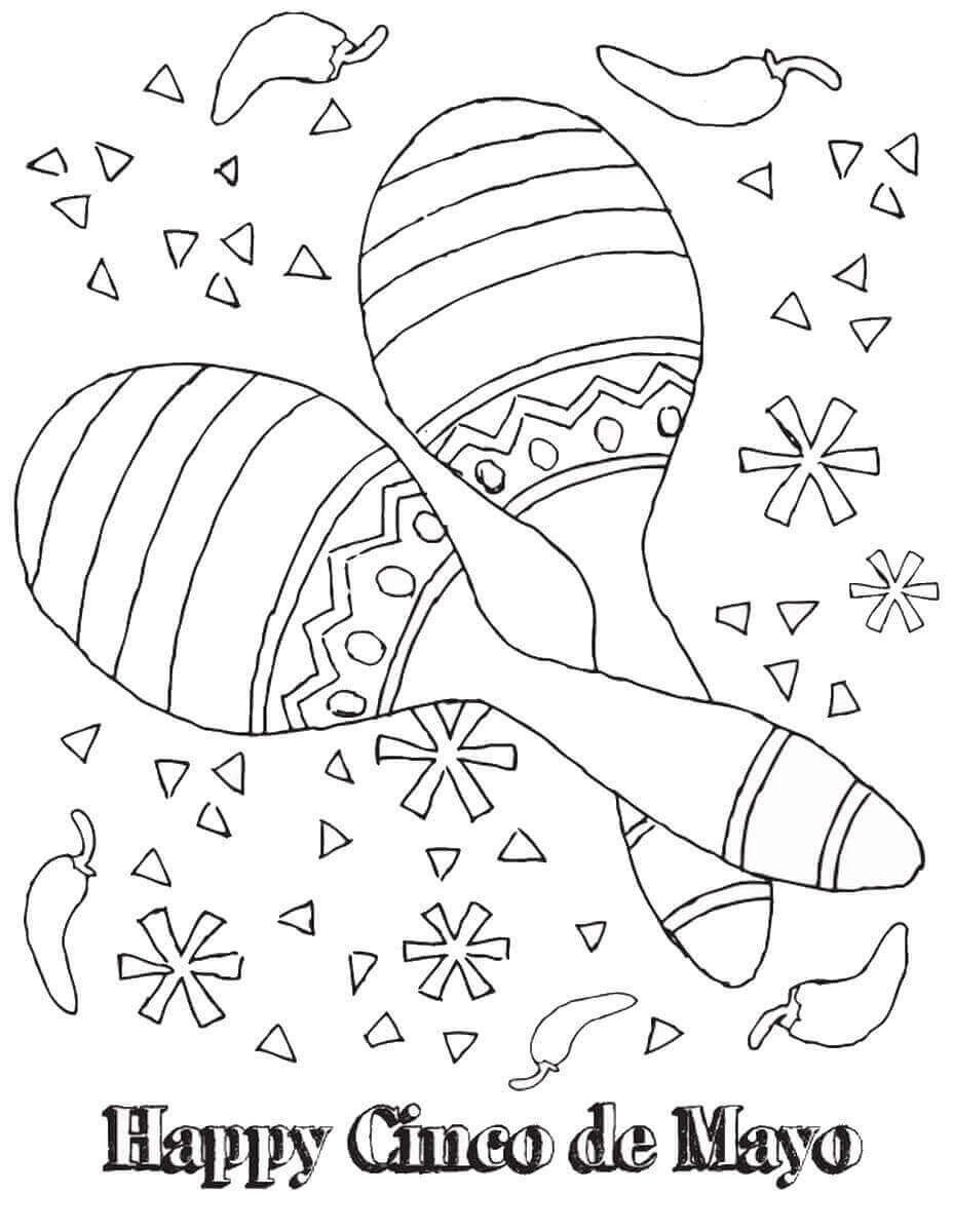 Cinco De Mayo Maracas Coloring Pages