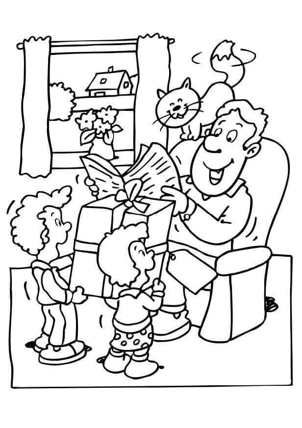 Cute Happy Fathers Day Coloring Pages