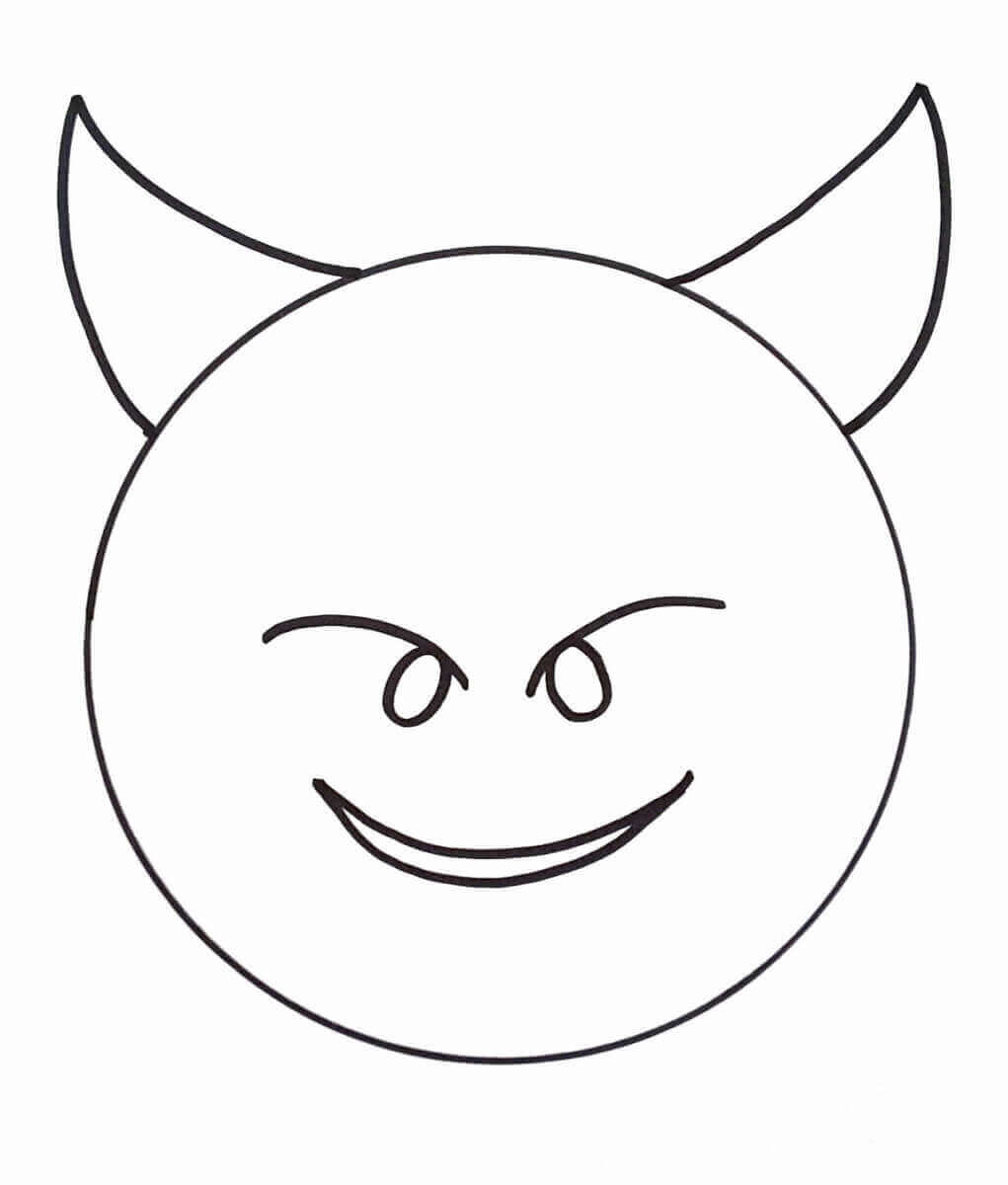 Devil Emoji Coloring Picture Free Printable