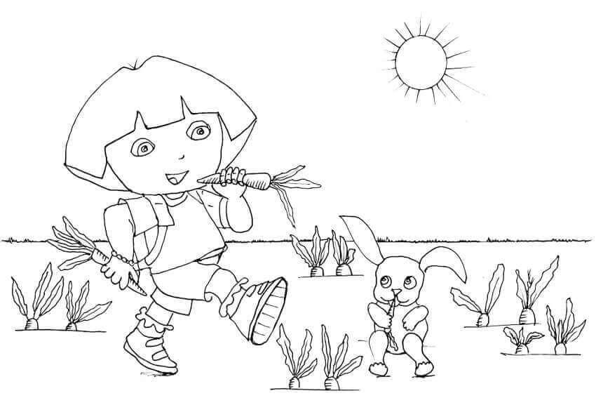 Dora Enjoying Summer Coloring Page