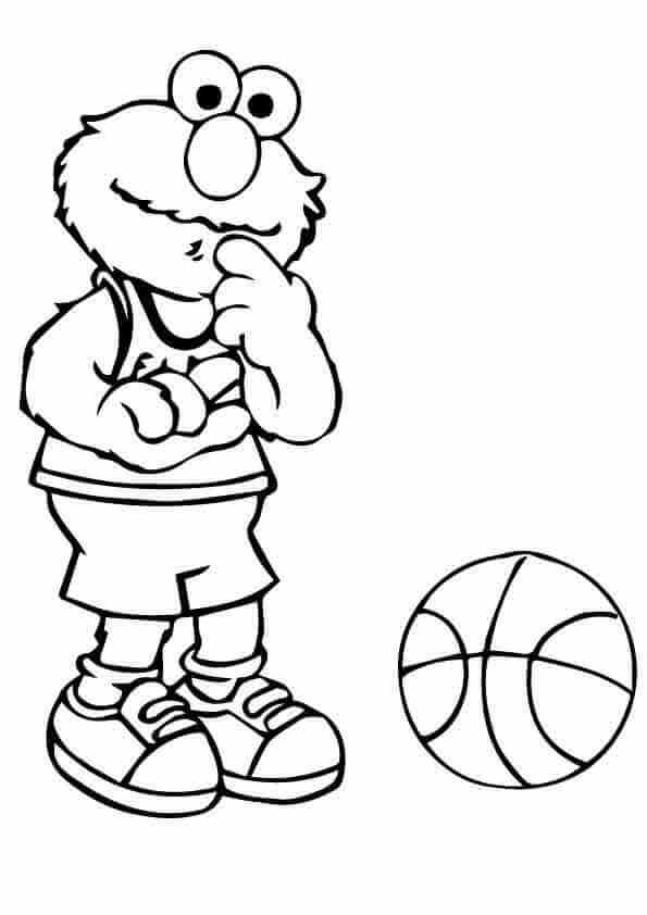 Elmo Basketball Coloring Pages
