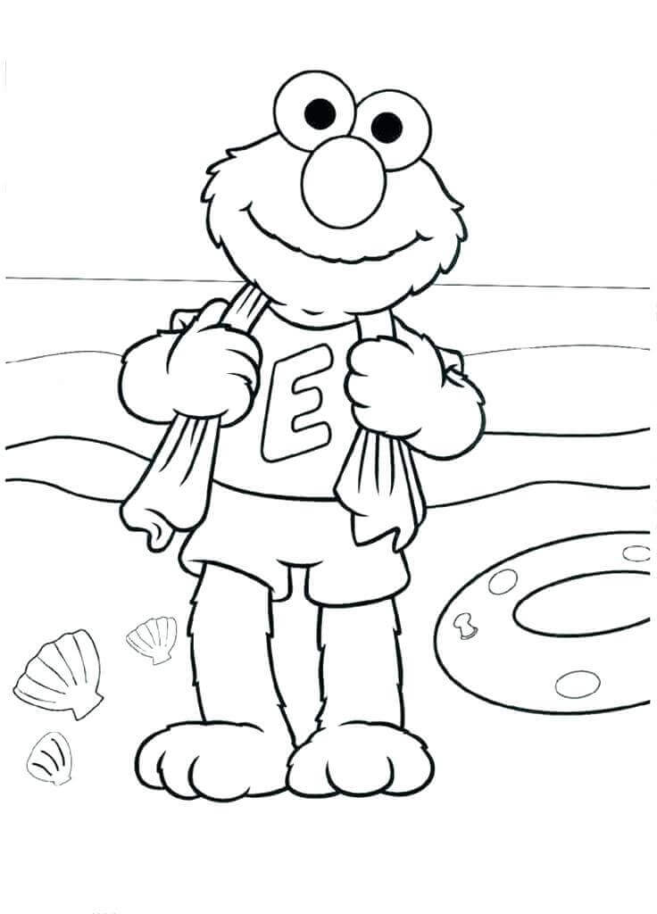 Elmo On Beach Coloring Page